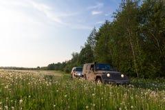 Regione di Novgorod, la Russia, il 30 aprile 2016, un viaggio a Hummer H3 ed a Jeep Wrangler sul campo, Hummer H3 e la jeep Immagini Stock
