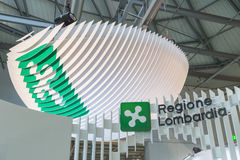Regione Lombardia logo at Bit 2015, international tourism exchange in Milan, Italy Royalty Free Stock Image