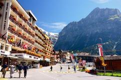 Regione svizzera di Grindelwald Jungfrau della località di soggiorno di montagna Immagini Stock Libere da Diritti