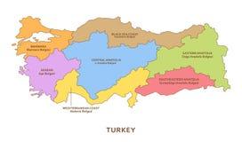 Regiones de Turquía, fondo de la geografía del vector ilustración del vector