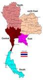 Regiones del mapa 5 de Tailandia Fotografía de archivo
