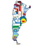 Regioni di argentina sulla mappa Immagine Stock