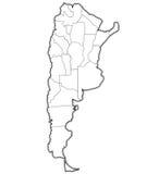 Regioni di argentina sulla mappa del profilo Immagine Stock