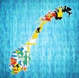 Regioni sulla mappa dell'amministrazione della Norvegia Immagine Stock