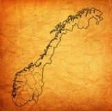 Regioni sulla mappa dell'amministrazione della Norvegia Immagini Stock