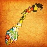 Regioni sulla mappa dell'amministrazione della Norvegia Fotografia Stock Libera da Diritti