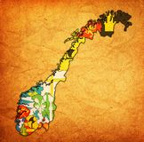 Regions on administration map of norway Royalty Free Stock Photo