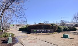 Regions Bank Plaza, West Memphis, Arkansas. Regions Bank provides credit cards, mortgages, commercial banking, auto loans, investing Stock Photography