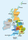 Regions of England. Vector map with the English regions Royalty Free Stock Images