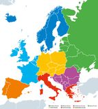 Regions of Europe, political map, with single countries. Northern, Western, Southeastern, Eastern, Central, Southern and Southwestern Europe in different Stock Image