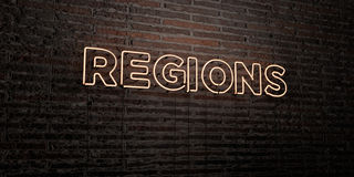 REGIONS -Realistic Neon Sign on Brick Wall background - 3D rendered royalty free stock image. Can be used for online banner ads and direct mailers royalty free illustration
