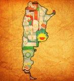 Regiony Argentina na mapie Obraz Stock