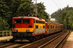 RegioTrans trains arrived in Sinaia Sud. The train circulates on the Bucharest North - Brasov relation royalty free stock photography
