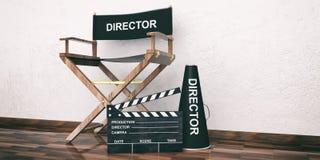 Regisseurstoel en klep op houten vloer 3D Illustratie Royalty-vrije Stock Fotografie