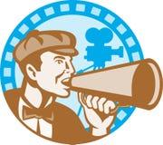 Regista di film con l'altoparlante e macchina fotografica retro Immagine Stock