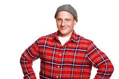 Registador na camisa vermelha isolada Imagens de Stock