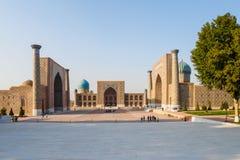 Registan广场,撒马而罕 库存图片