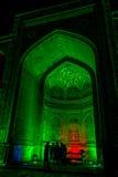 Registan bij nacht, Samarkand, Oezbekistan stock fotografie