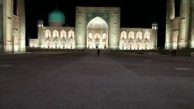Registan cuadrado, noche samarkand uzbekistan metrajes