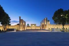 Registan fyrkant, Samarkand, Uzbekistan Fotografering för Bildbyråer