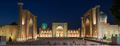 Registan przy nocą w Samarkand, Uzbekistan Zdjęcia Stock