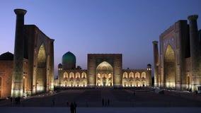 Registan quadrato, notte samarcanda uzbekistan archivi video