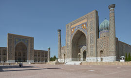 The Registan square in the center of Samarkand. Samarkand, Uzbekistan - June 03, 2014: the Registan square in the center of Samarkand. Samarkand square is the Royalty Free Stock Images