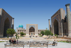 Registan Square in Samarkand stock images