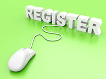 Register. 3D rendered Illustration Stock Photos