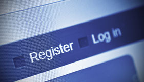 Register. Close-up of computer screen and register button Stock Images
