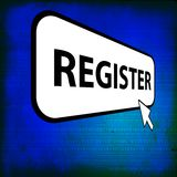 Register computer button with cursor Stock Photo