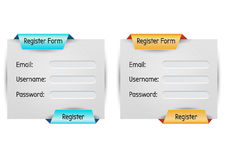 Register form. Webdesign template theme royalty free stock photo