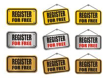 Register for free sign Stock Photo