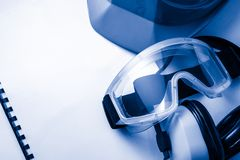 Register with goggles and helmet Stock Images