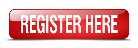 Register here red square isolated web button Royalty Free Stock Photography