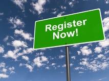 Register jetzt! lizenzfreies stockfoto