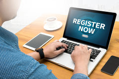 Register jetzt lizenzfreies stockfoto