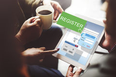 Register kommen anwenden Liste unterzeichnen Anwendungs-Konzept herein stockfotos