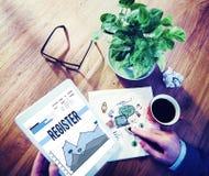 Register Membership join Enter Record Concept Stock Photo