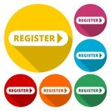 Register mit Pfeilzeichenikone stock abbildung