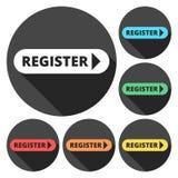 Register mit Pfeilzeichenikone lizenzfreie abbildung