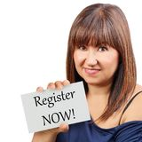 Register now card held by brunette woman isolated stock photography