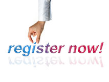 Register now concept with hand and word Royalty Free Stock Images