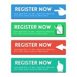 'Register now' flat buttons Stock Images