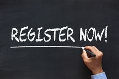 Register Now Concept. Register Now handwriting with chalk marker on blackboard. Business Concept stock photos