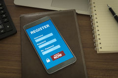 Register now. Membership Application on mobile smartphone, Business Concept. soft focus Stock Photos