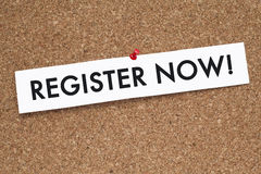 Register now. Note on cork Royalty Free Stock Photo