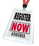 Register Now - Registration for Trade Show Event Stock Photos