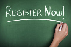 Register Now Sign Stock Photography