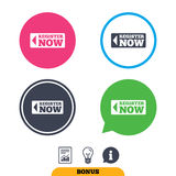 Register now sign icon. Join button symbol. Royalty Free Stock Photos